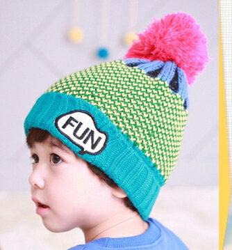 Tutuya◆ 可愛FUN字母刺繡保暖拚色兒童針織毛線帽~藍綠
