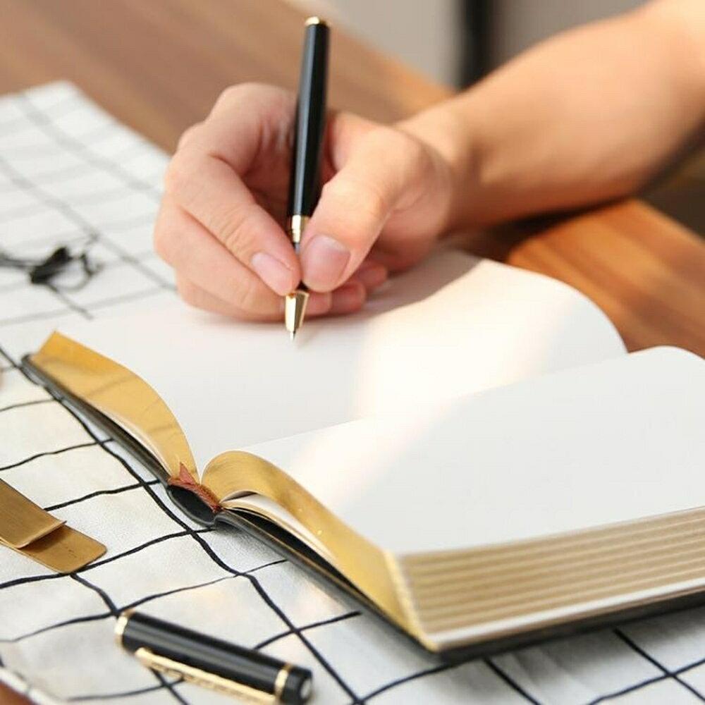 文藝手賬創意復古厚夢想金邊皮質空白記事本學生本筆記本手帳本子 歐韓時代