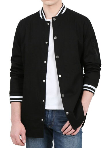 Unique Bargains Men's Longline Fully Lined Snap Long Sleeves Button Front Varsity Jacket 4aed8ba322d5a3ca3a1e39af93d88979