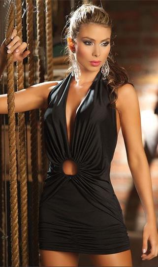 歐美最新款式性感夜店深V超低胸綁脖露背超短裙洋裝連身裙 N040 黑色特價現貨下標區