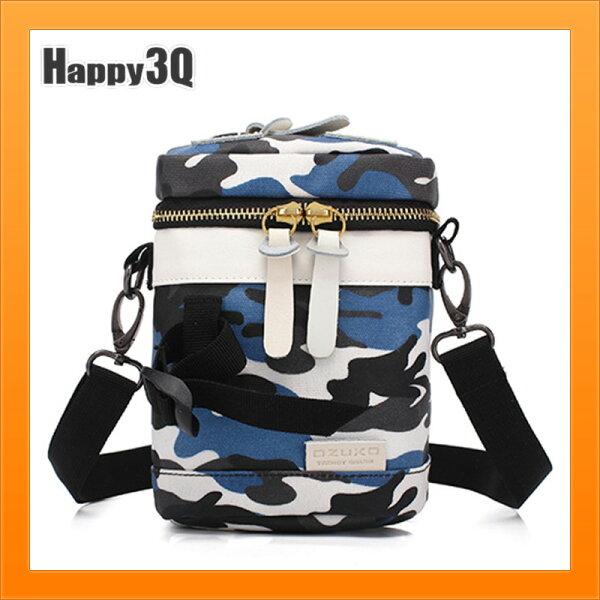 單肩包男女時尚單肩斜背包創意迷彩帆布包小包包-黑藍棕【AAA5160】