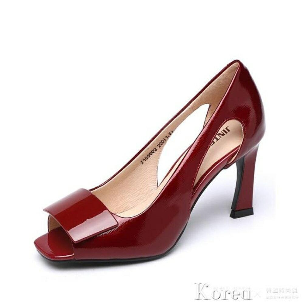 免運 細高跟鞋 百麗新款真皮魚嘴涼鞋女細跟高跟鞋單鞋鏤空中跟女鞋【韓國時尚週】