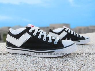 Shoestw【63U1SH01BK】PONY Shooter 帆布鞋 低筒 黑白色 男女都有