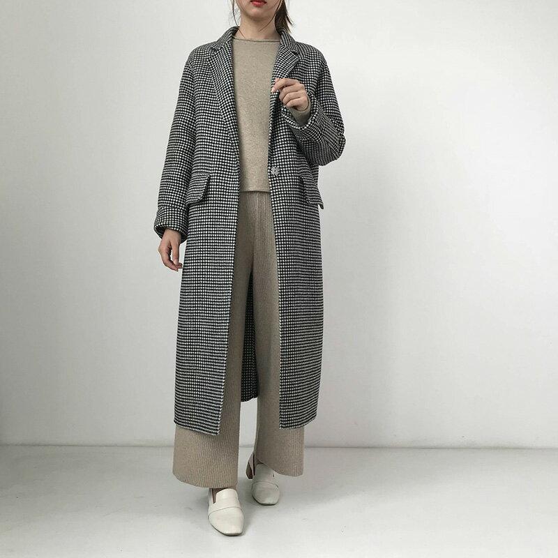 毛呢大衣羊毛外套-長版黑色千鳥格繫帶女外套73wb7【獨家進口】【米蘭精品】 0