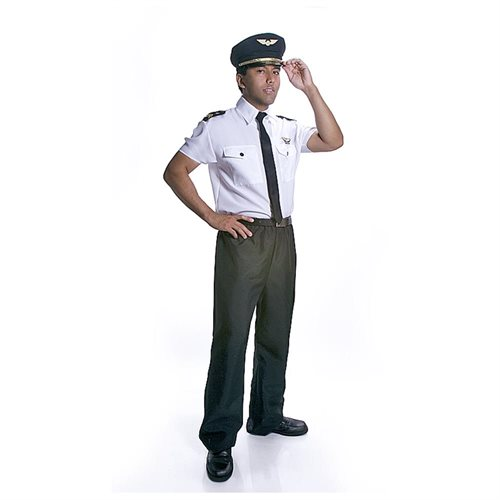 Adult Realistic Looking Pilot Halloween Costume Set - Medium 0