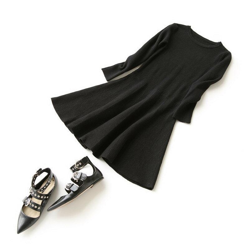 經典純色大裙擺長袖針織衫 連身裙 洋裝/ 樂天時尚館。預購。[全店免運]