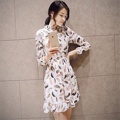 長袖百褶碎花印花復古修身顯瘦連身裙短裙(S~XL)-ORead自由風格