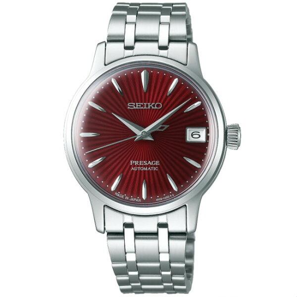 Seiko精工錶Presage4R35-02T0R(SRP853J1)調酒師弧面玻璃機械腕錶紅面34mm