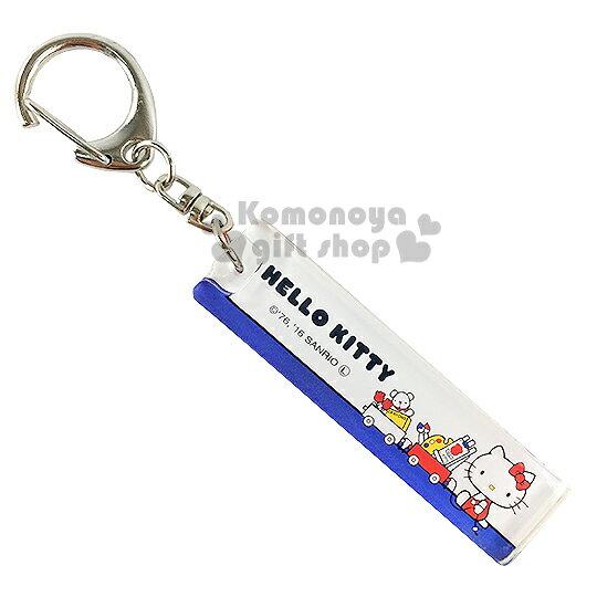 〔小禮堂〕Hello Kitty 壓克力鑰匙圈《藍白.坐姿.玩具車.長方型》