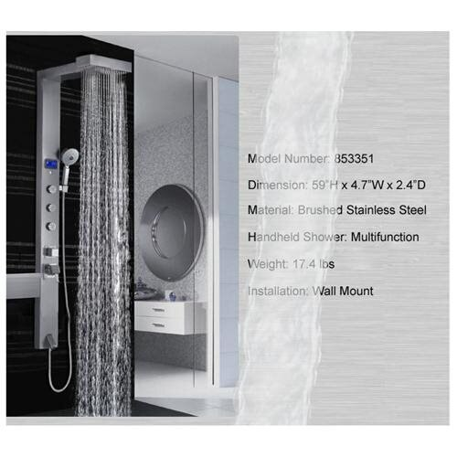 AKDY AK-853351 Stainless Steel Massage Shower Panel Thermostatic Control Valve 1
