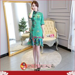 【水水女人國】~你的夏日~優雅中國風~綠夢。復古原創雪紡印花時尚改良式修身顯瘦中袖俏麗魚尾裙旗袍洋裝