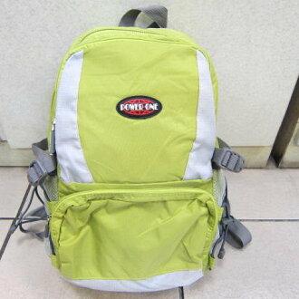 ~雪黛屋~POWERONE BAG 電腦後背包 可放小型尺吋筆電 防水尼龍布材質外出上學萬用包33-839綠