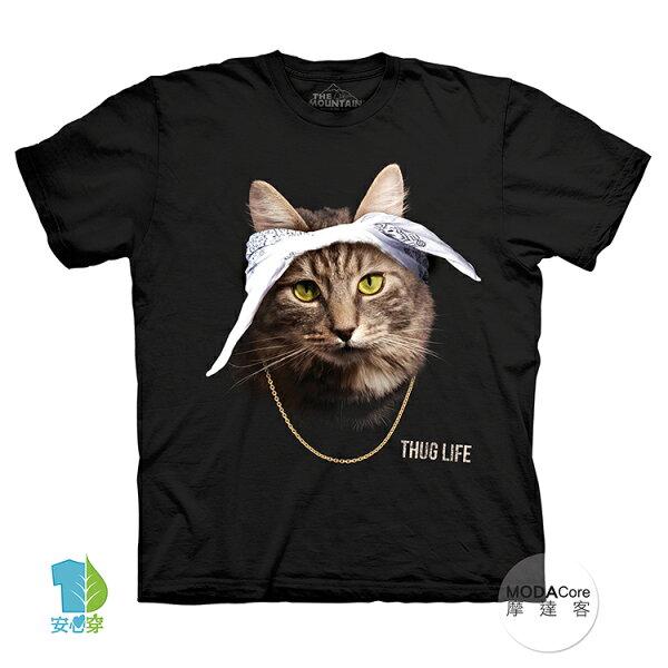 【摩達客】(預購)美國進口TheMountain頭巾饒舌貓純棉環保藝術中性短袖T恤