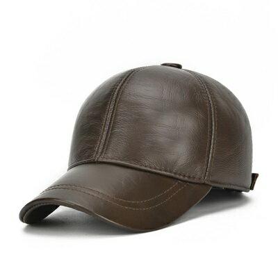 鴨舌帽真皮棒球帽-秋冬護耳純色牛皮男帽子2色73rq10【獨家進口】【米蘭精品】