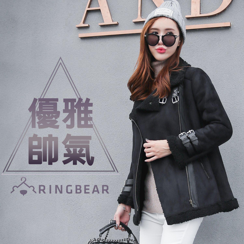 保暖--率性風格麂皮帥氣皮扣斜開拉鍊溫暖羊羔毛內裡外套(黑XL-3L)-J329眼圈熊中大尺碼 0