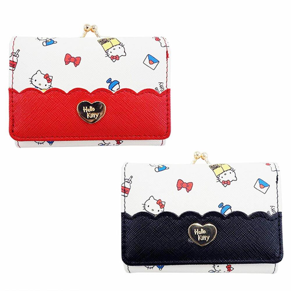 Hello Kitty金扣壓印皮革零錢包/短夾/皮夾