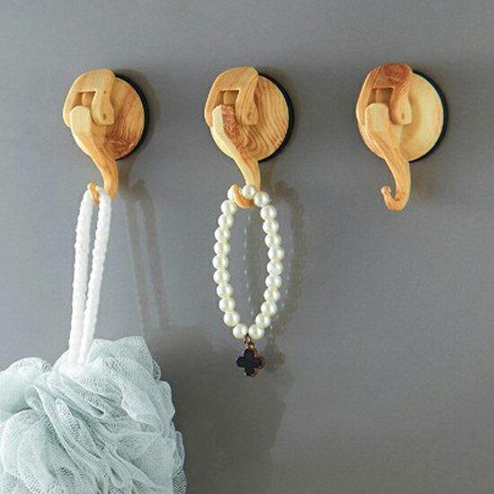 ?MY COLOR? 木紋色小飛象吸盤掛鉤 真空 牆壁 廚房 浴室 懸掛 工具 耐重 橡膠 壁掛 收納 【T32】