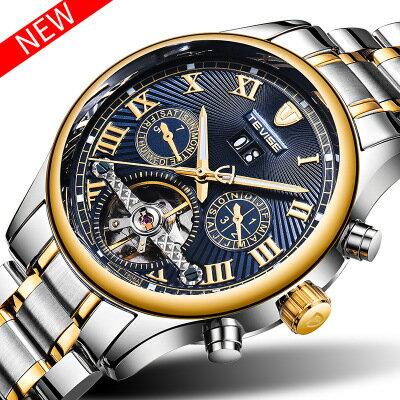 美琪 (時尚簡約)全自動機械手錶기계식 시계防水多功能 日曆 月相 星期 빛나는夜光手錶