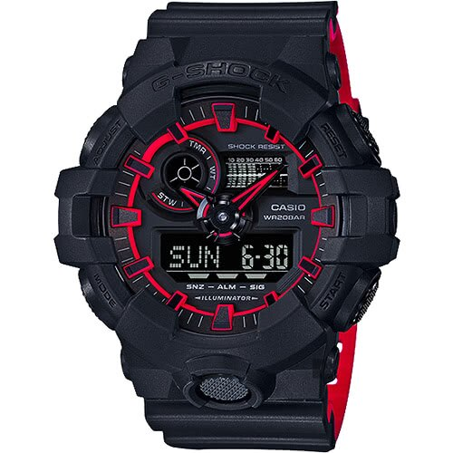 CASIO 卡西歐 G-SHOCK 街頭螢光雙顯手錶-紅(限量)  GA-700SE-1A4DR 原廠公司貨 附保證卡 保固期一年 手錶 運動錶 電子錶