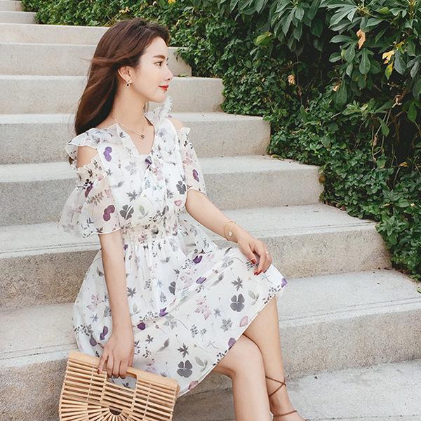 PS Mall 荷葉邊印花露肩短袖連身裙短裙 洋裝【T369】 2