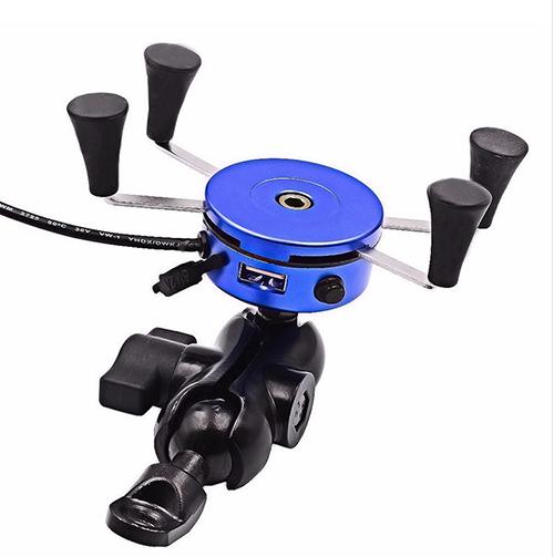 X型機車手機架 導航架 手機USB車充 摩托車6吋手機架-藍