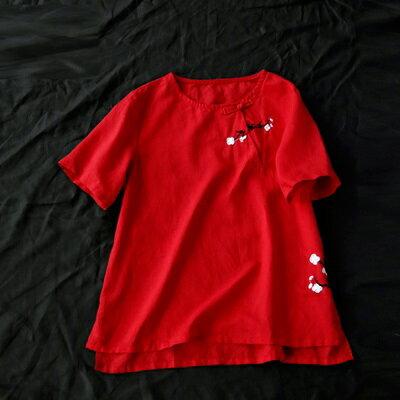 短袖T恤打底衫-復古盤扣花朵刺繡女上衣3色73sj84【獨家進口】【米蘭精品】