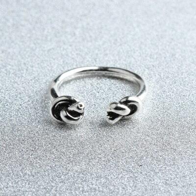 ~925純銀戒指雙結開口戒~復古 百搭 生日情人節 女飾品73gp44~ ~~米蘭 ~
