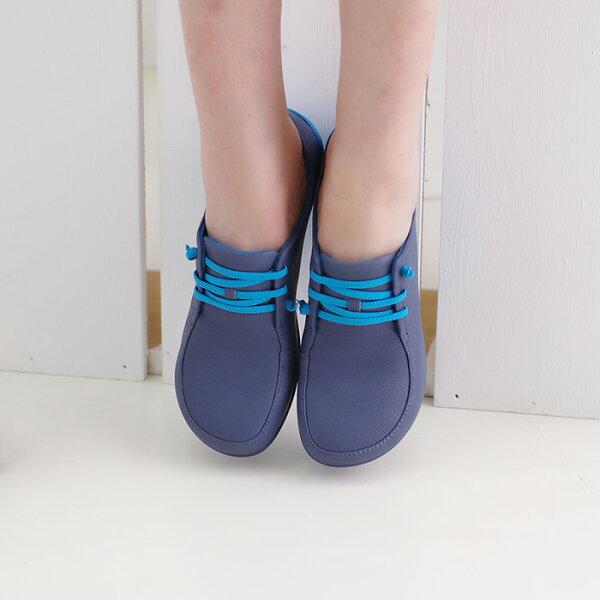 懶人鞋休閒鞋水藍女鞋真皮平底鞋【SV9681】HappyLife