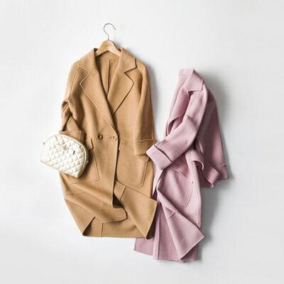 【米蘭秀】【奇珍館】:毛呢外套羊毛大衣-手工長款百搭純色女外套2色73op1【獨家進口】【米蘭精品】