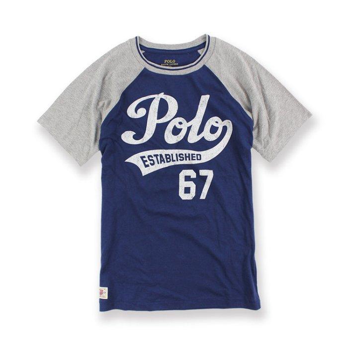美國百分百【全新真品】Ralph Lauren T恤 RL 短袖 T-shirt Polo 復古棒球T 深藍灰XXS XS S號青年版 I100
