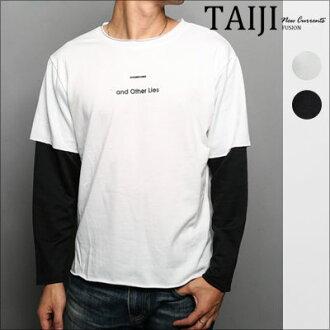 假兩件圓領T‧英字袖子撞色假兩件圓領T‧二色【NQ1004】-TAIJI