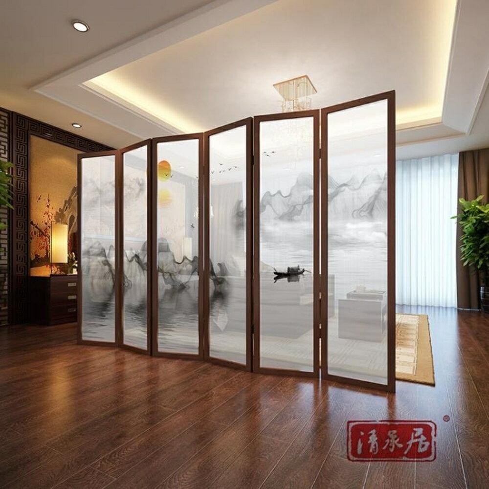屏風隔斷簡約現代裝飾中式客廳臥室辦公室酒店小戶型實木移動折疊-快速出貨FC
