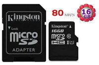 KINGSTON 16GB 16G microSDHC【80MB/s】microSD SDHC micro SD UHS-I U1 TF C10 Class10 金士頓手機記憶卡 0
