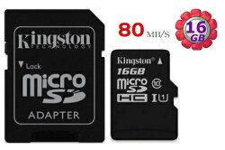 KINGSTON 16GB 16G microSDHC【80MB/s】microSD SDHC micro SD UHS-I U1 TF C10 Class10 金士頓手機記憶卡