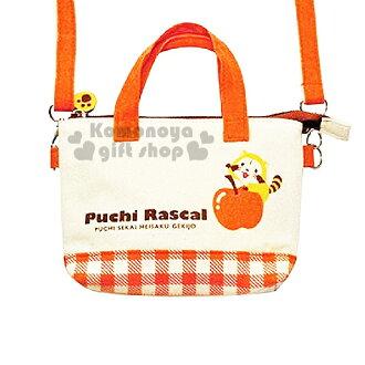 〔小禮堂〕小浣熊 Rascal 帆布兩用手提包《米白.橘格.蘋果.附斜背帶》後有透明手機袋設計