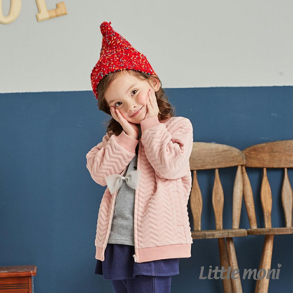 Little moni 幾合壓紋鋪棉外套-粉紅 1