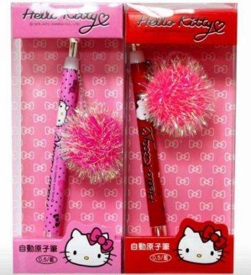 【真愛日本】13030500001.2 原子筆+毛球吊飾-紅/粉 KITTY 凱蒂貓 三麗鷗 筆 書寫用具 原子筆 隨機