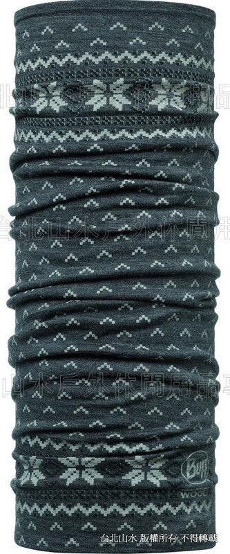 [ Buff ] 105510 WOOL BUFF 印花美麗諾羊毛萬用魔術頭巾 灰色雪花