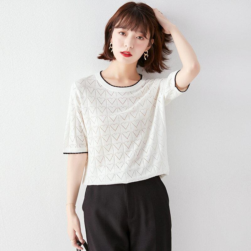 全店一件免運✦氣質短袖寬鬆薄款套頭針織衫2021春夏季韓版女裝時尚圓領純色上衣✦女裝