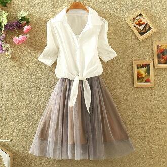 洋裝【心齋橋】韓版新款短袖襯衫蕾絲背心裙兩件式套裝連身裙洋裝FAN2127