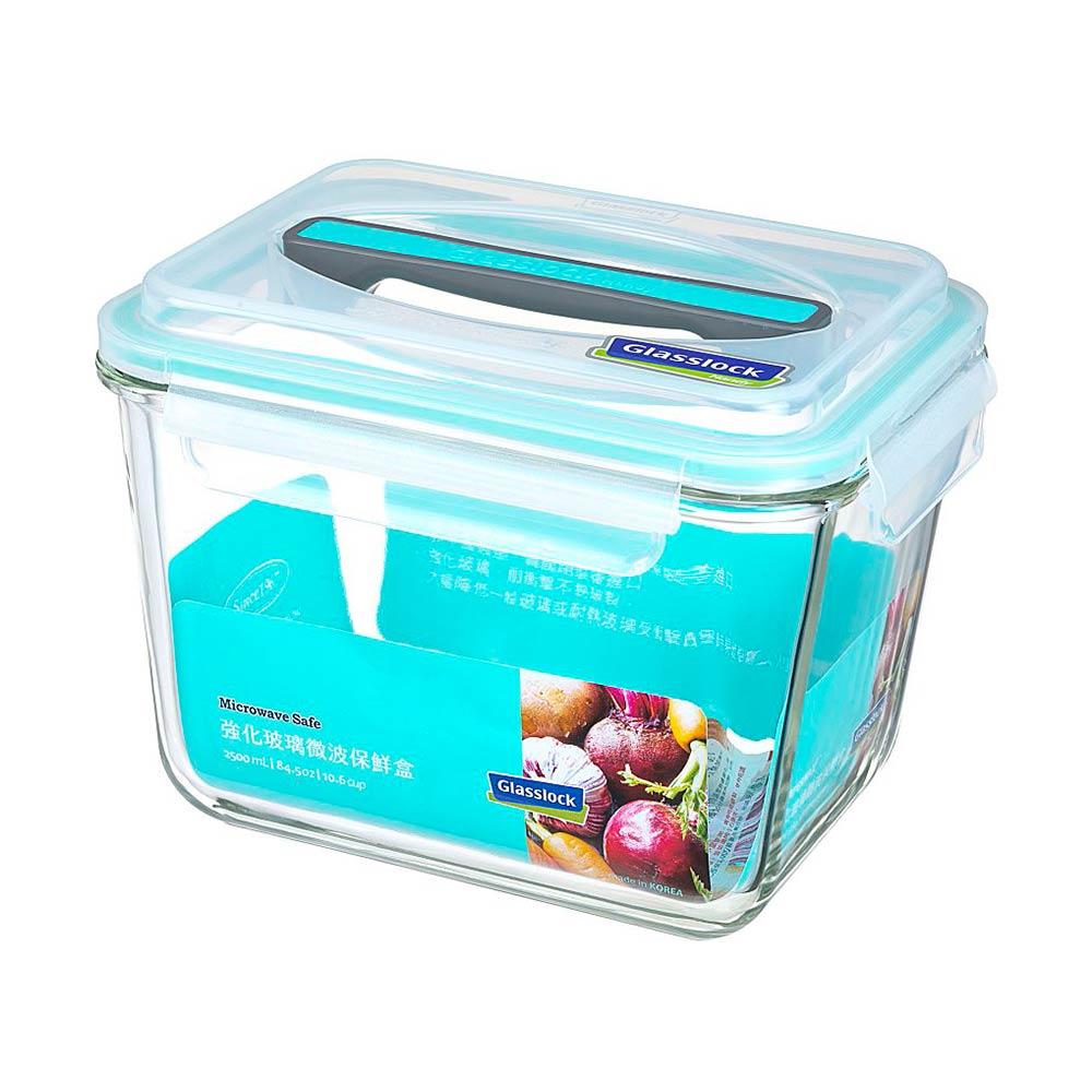 Glasslock 附提把手提強化玻璃保鮮盒- 2500ml/韓國製造/可微波/野餐手提款/耐瞬間溫差120度/減塑餐盒 1