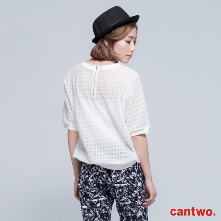 cantwo透視網紗格紋短袖上衣(共三色) 3