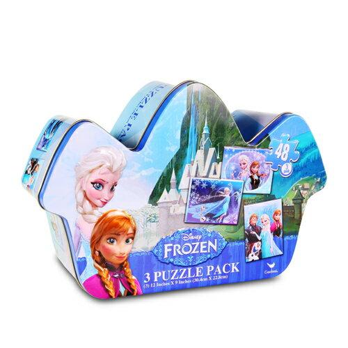 冰雪奇緣造型鐵盒拼圖/ 內含3款/ Frozen Shaped Tin/ 艾莎/ 安娜/ 桌游/ 益智/ 伯寶行
