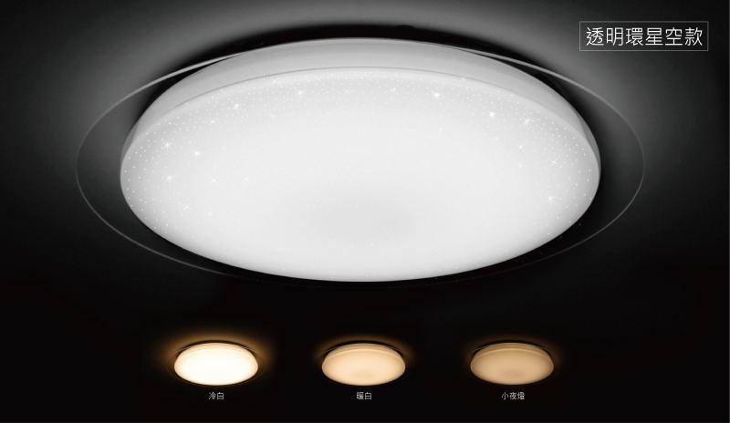 旭光★透明環星空款 LED 38W 110V 十段調光調色 吸頂燈 附遙控器★永光照明TF-LXC38WD%TSB351