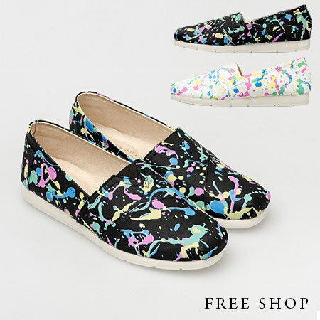 《Free Shop》Free Shop【QSH0320】日韓系街頭潮流潑漆造型塗鴉皮質休閒鞋懶人鞋‧二色(N22) MIT台灣製