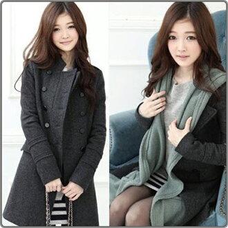 大衣外套【艾美天后】韓版時尚立領雙排扣修身顯瘦OL最愛風衣外套