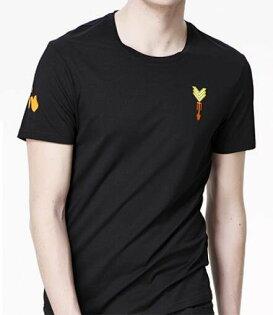 FINDSENSEMD韓國男街頭時尚潮胸前徽章圖案短袖T恤特色T恤圖案T
