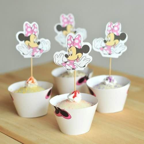 =優生活=烘焙包裝紙杯蛋糕 蛋糕裝飾 插牌圍邊+插牌裝飾 派對用品 兒童生日 彌月蛋糕 收綖蛋糕【立體米妮】
