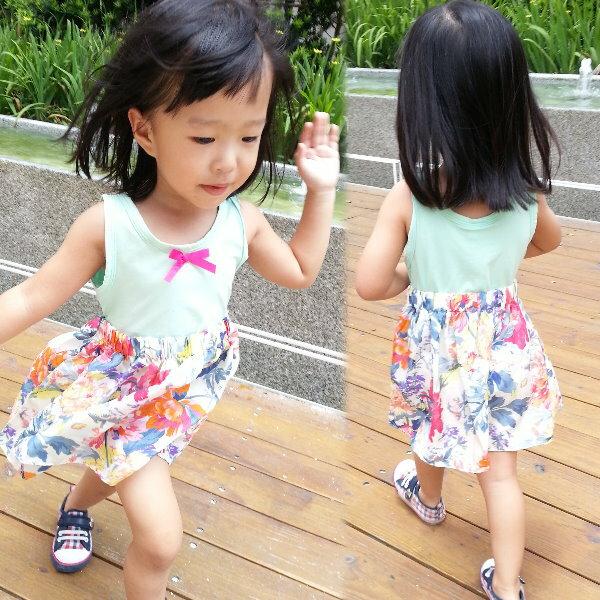 【班比納精品童裝】下襬碎花背心洋裝-綠【BN140506009】