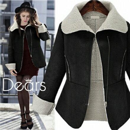 梅西蒂絲Mercedes Shop:《早秋新品5折》麂皮絨加厚羊羔毛短棉衣外套-S-XL-梅西蒂絲(現貨+預購)